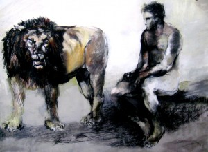 Hercules Observes the Nemean Lion, by Bettina McMahon